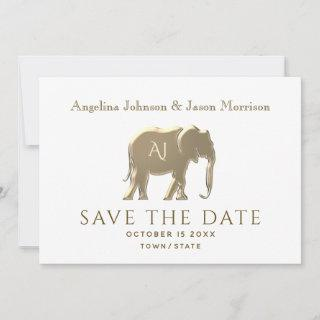 Simple Modern White and Gold Foil Elephant Wedding Save The Date