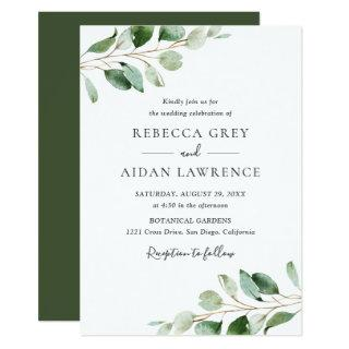 Simple Moody Eucalyptus Greenery Wedding Invitations