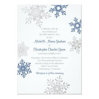 Simple Navy Blue Silver Snowflake Winter Wedding Invitations