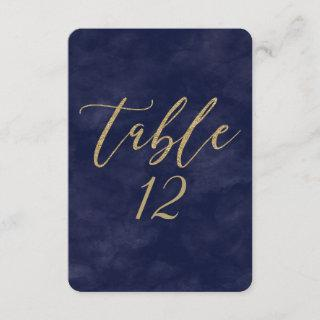 Simple Navy Watercolor & Gold Wedding Table Number