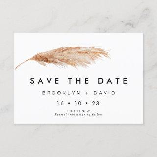 Simple Pampas Grass Wedding Save The Date Card