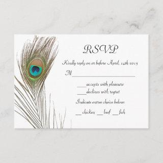 Simple Peacock Feather RSVP Card