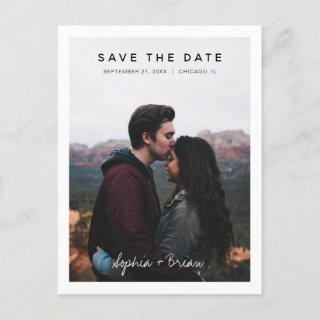 Simple Photo Design White Border Save the date Announcement Postcard