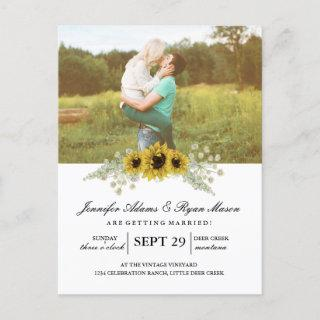 Simple Photo Wedding Sunflowers Invitation Postcard