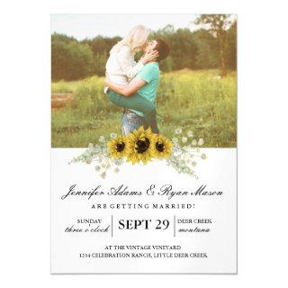 Simple Photo Wedding Sunflowers Magnetic Invitation