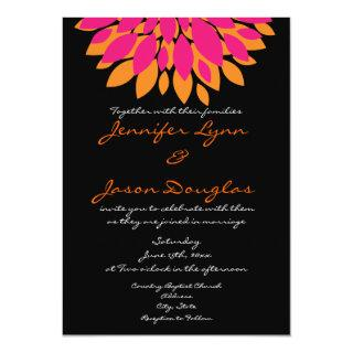 Simple Pink and Orange Flowers Wedding Invitations