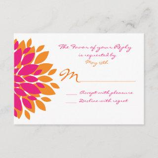 Simple Pink and Orange Flowers Wedding RSVP Cards