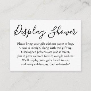 Simple Plain Display Bridal Shower Black & White Enclosure Card
