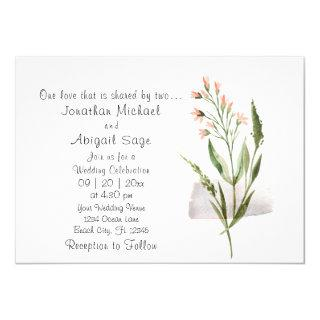 Simple Pretty Pink Flowers Christian Wedding Invitations