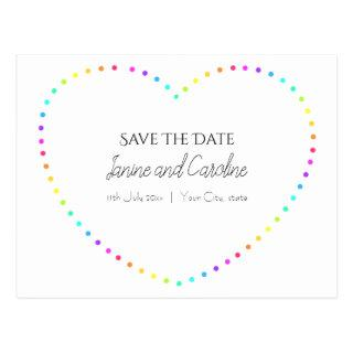 Simple Rainbow Heart Save The Date Postcard