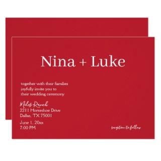 Simple Red or Other and White Minimalist Wedding Invitation