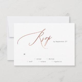 Simple Rose Gold Calligraphy Wedding RSVP Card
