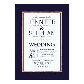 Simple Rose Gold Lined Navy Blue Wedding Invitations