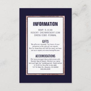 Simple Rose Gold Lined Navy Information Enclosure Card