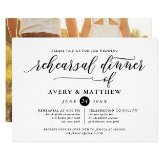 Simple Script Typography | Photo Rehearsal Dinner Invitations