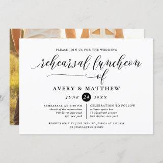 Simple Script Typography Photo Rehearsal Luncheon Invitations