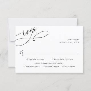 Simple Script Wedding Rsvp with Meal Options Card