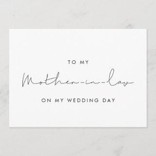 Simple To my mother-in-law on my wedding day card