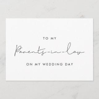 Simple To my parents in law on my wedding day card