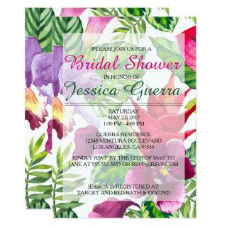 Simple Tropical Bridal Shower Invitations