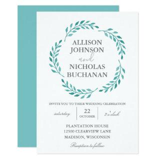 Simple Turquoise Modern Teal Wreath Wedding Invitations