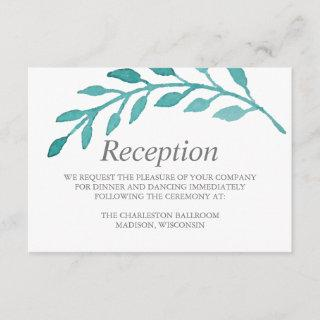 Simple Turquoise Vine Botanical Wedding Reception Enclosure Card