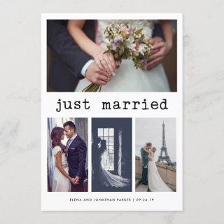 Simple Typewriter Text Just Married   4 Photo Announcement