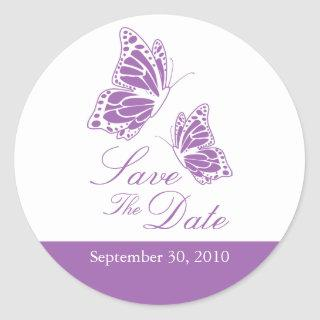 Simple Violet Butterfly Save The Date Wedding Classic Round Sticker