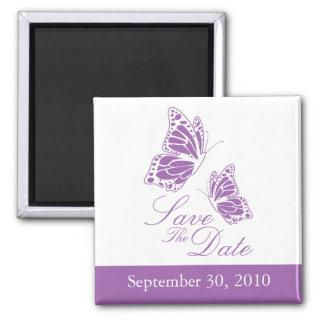 Simple Violet Butterfly Save The Date Wedding Magnet