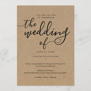 Simple Wedding Invitation on Kraft Paper