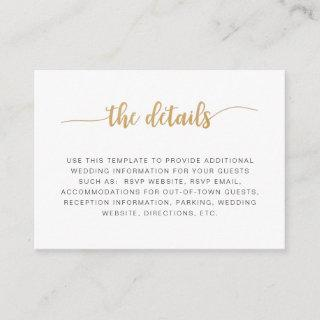 Simple white gold wedding information details card