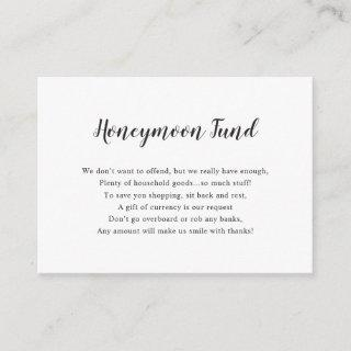 Simple white Honeymoon Fund Enclosure Card