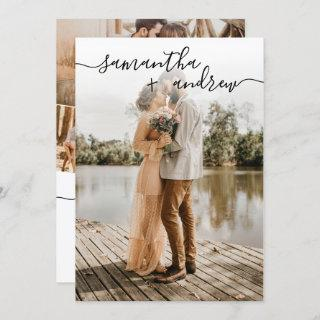 Simple white minimalist font 5 photos wedding invitation