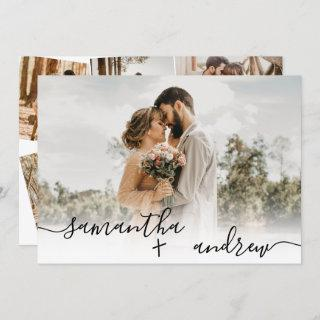 Simple white minimalist script 5 photos wedding invitation