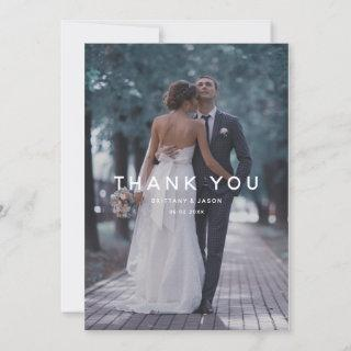 Simple White Overlay Text Wedding Photo Thank You Card