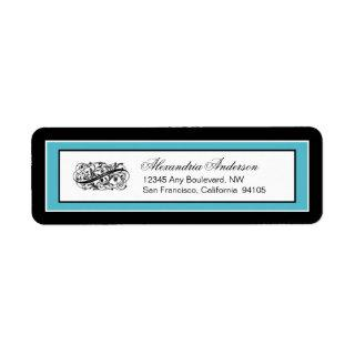 Simply Elegant Return Address Label (black/aqua)