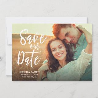 Simply Stylish Modern Typography Photo | White Save The Date