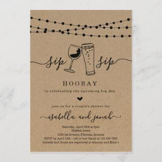 Sip Sip Hooray Couple's Shower Invitation