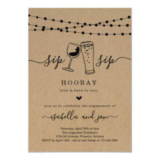 Sip Sip Hooray Engagement Party Invitation