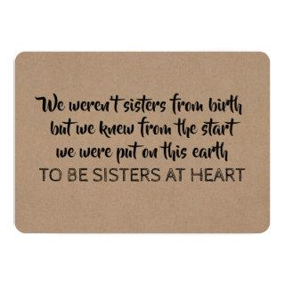 Sisters at Heart - Will You Be My Bridesmaid Invitation