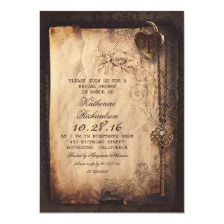skeleton key heart lock bridal shower invites