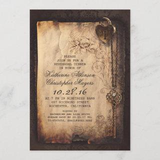 skeleton key heart lock rehearsal dinner invite