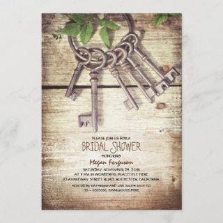 Skeleton Keys Rustic Bridal Shower Invitations