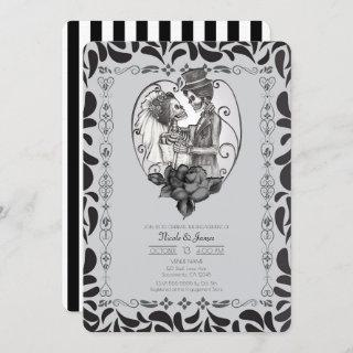 Skeleton Love Couple Marriage Dance Engagement Invitations