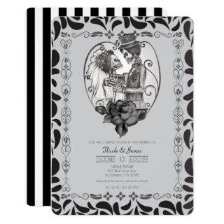 Skeleton Love Couple Marriage Dance Gothic Wedding Invitations
