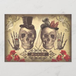 Skull Couple Day of The Dead engagement party Invitations