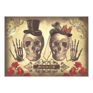 Skull Couple Day of The Dead engagement party Invitation