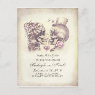 Skull Couple Day of the Dead Save the Date Announcement Postcard