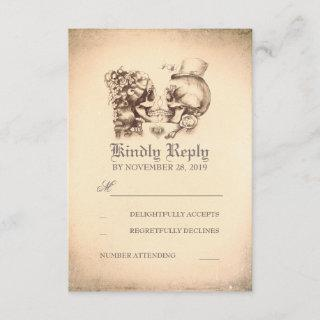 Skull Couple Dead Day Wedding RSVP Cards