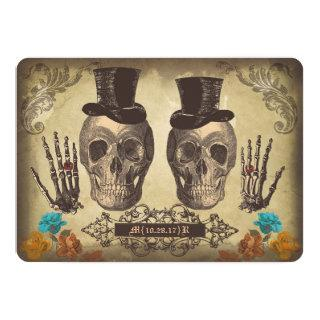Skull gay couple Victorian Gothic Wedding Invite